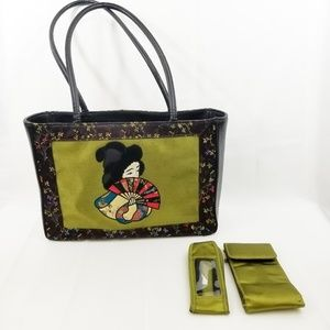 🎄 Bueno Geisha Floral Embroidered Satin Tote  K05